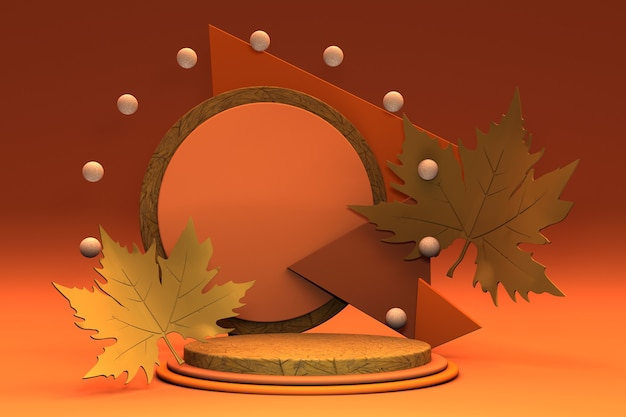Podium minimal d'automne 3d avec des feuilles d'orange jaune et des feuilles d'automne 3d au stade du produit pour la conception