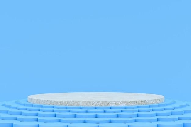 Podium minimal sur bleu pour la présentation des produits cosmétiques