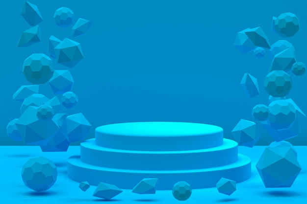 Podium minimal sur bleu