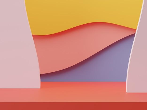 Podium minimal de couleurs pastel de rendu 3d pour la maquette et la présentation de produits