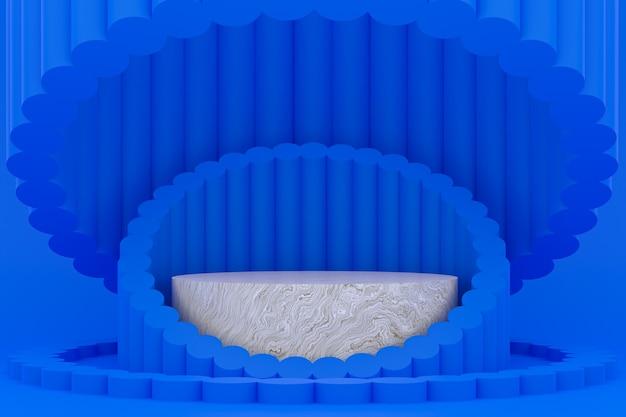 Podium minimal sur fond bleu pour la présentation des produits cosmétiques