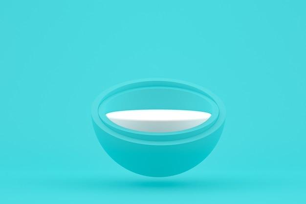 Podium minimal sur fond bleu vert pour la présentation des produits cosmétiques