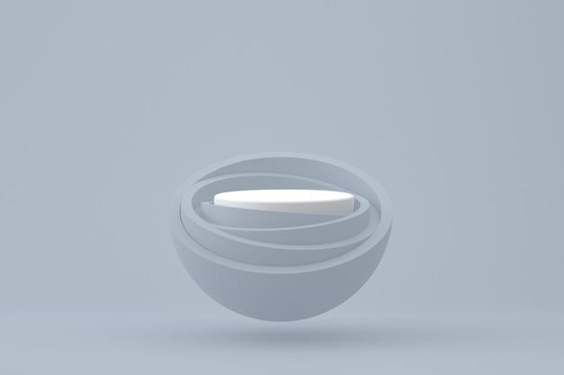 Podium minimal sur fond gris pour la présentation des produits cosmétiques