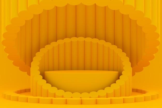 Podium minimal sur fond jaune pour la présentation des produits cosmétiques