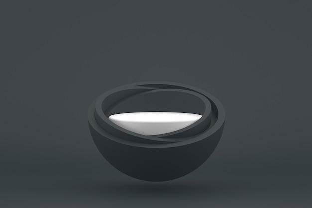 Podium minimal sur fond noir pour la présentation des produits cosmétiques