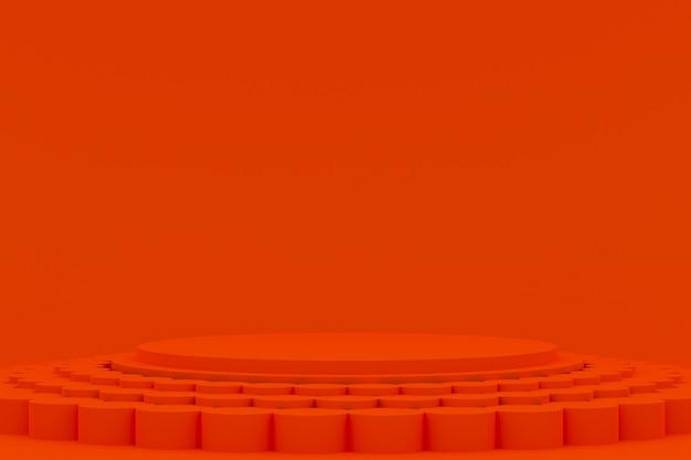 Podium minimal sur fond orange pour la présentation des produits cosmétiques