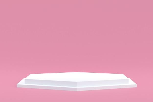 Podium minimal sur fond rose pour la présentation des produits cosmétiques