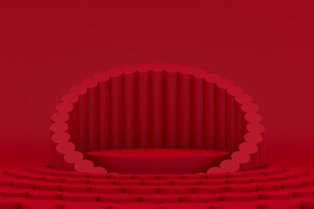 Podium minimal sur fond rouge pour la présentation des produits cosmétiques