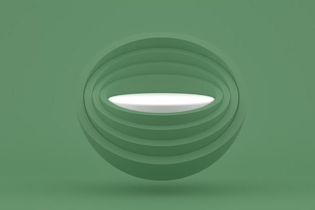 Podium minimal sur fond vert pour la présentation des produits cosmétiques
