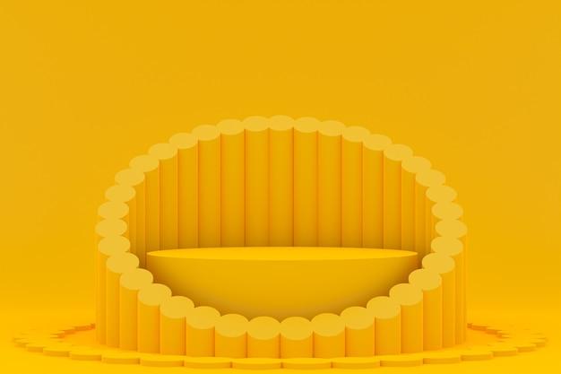Podium minimal sur jaune pour la présentation des produits cosmétiques