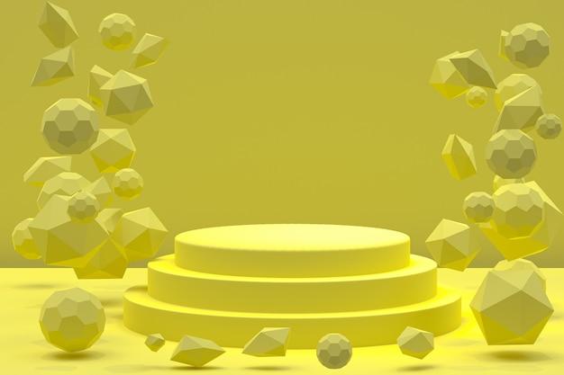 Podium minimal sur jaune