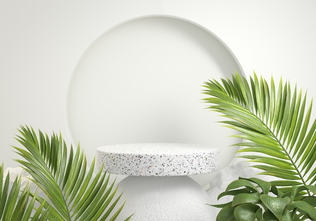 Podium minimal palm vert naturel tropical sauvage concept abstrait fond rendu 3d