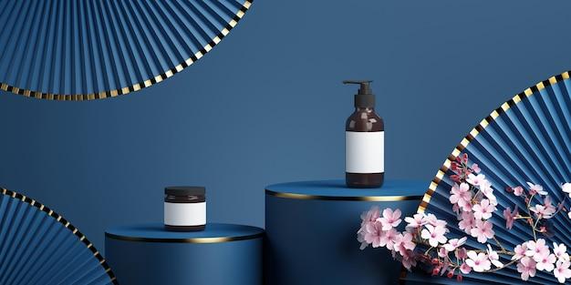 Podium minimal et pan de fleur de cerisier avec fond bleu pour la présentation du produit rendu 3d
