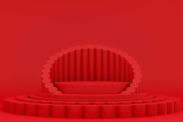 Podium minimal sur rouge pour la présentation des produits cosmétiques
