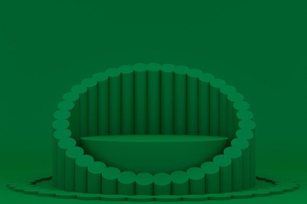 Podium minimal sur vert pour la présentation des produits cosmétiques