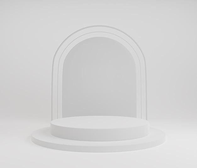 Podium minimaliste en composition géométrique blanche abstraite pour la présentation du produit.