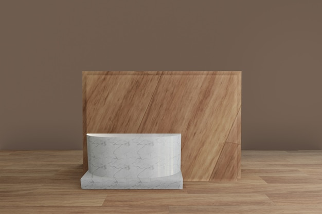 Podium minimaliste en marbre géométrique avec plancher en bois