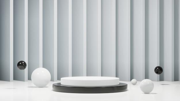 Podium minimaliste avec des sphères. conception pour la présentation du produit. rendu 3d.