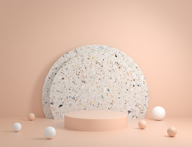 Podium moderne minimal avec fond de marbre terrazzo rendu 3d