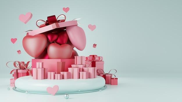 Podium montrant des coeurs, des ballons et des coffrets cadeaux