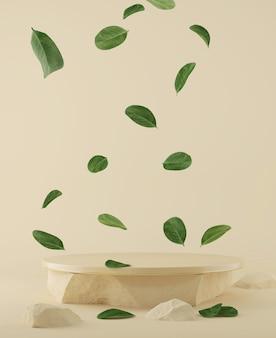 Podium naturel avec des feuilles