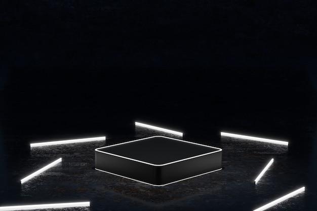 Podium néon métallique avec tube néon sur fond sombre rendu d'illustration 3d pour les entreprises