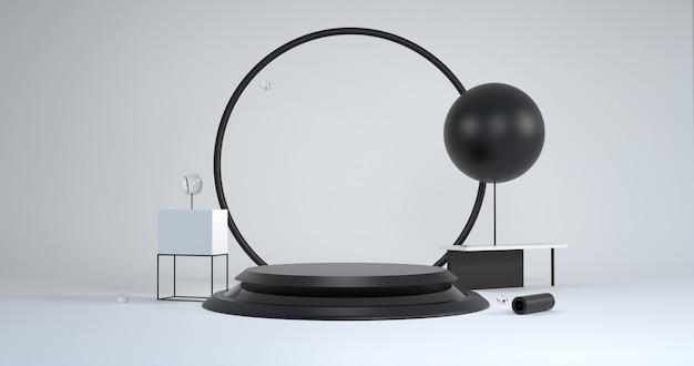 Podium noir avec des formes géométriques sur fond blanc