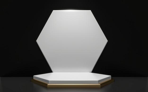 Le podium noir et or minimal géométrique, résumé de style sombre.