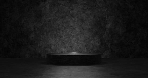 Podium noir vide pour le produit d'affichage. rendu 3d.