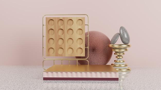 Podium en or abstrait avec bois de marbre et pierre