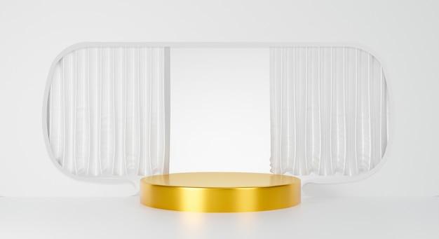 Podium d'or abstrait isolé sur fond blanc.