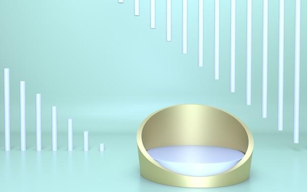 Podium en or blanc réaliste de rendu 3d pour l'affichage du produit avec un fond vert doux