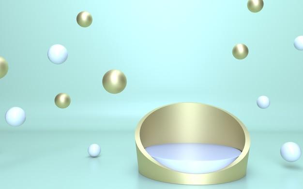 Podium en or blanc de rendu 3d pour l'affichage du produit avec un fond vert doux