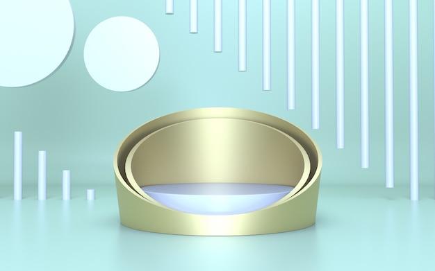 Podium en or élégant blanc pour l'affichage du produit avec un fond vert doux