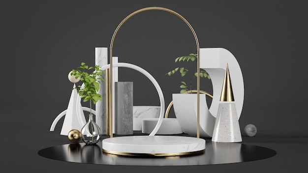 Podium en or de luxe pour la présentation du produit avec un ensemble géométrique et des plantes rendu 3d bakcground