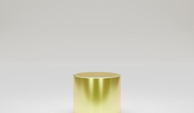 Podium d'or minimaliste avec élément de conception de rendu d'illustration 3d fond gris