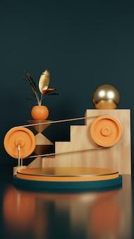 Podium d'or avec plante et escalier