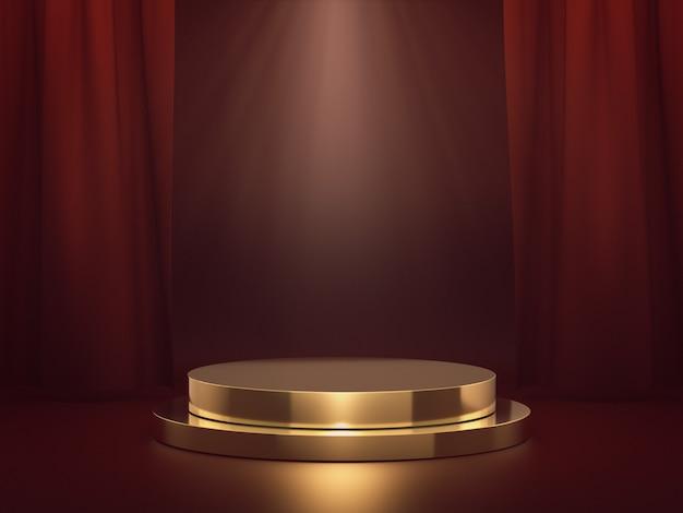Podium d'or pour exposition de produits avec tache lumineuse sur scène rouge. rendu 3d.