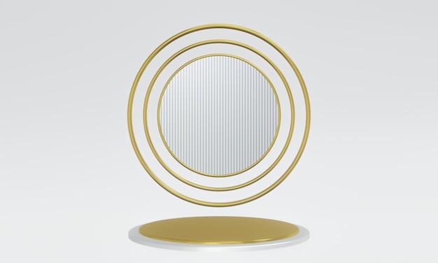 Podium d'or et de ruban rendu 3d