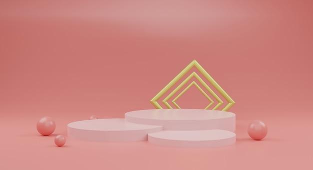 Podium orange et or sur fond rose rendu 3d