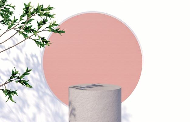 Podium avec palmier tropical laisse l'ombre pour l'affichage des produits cosmétiques. rendu 3d.