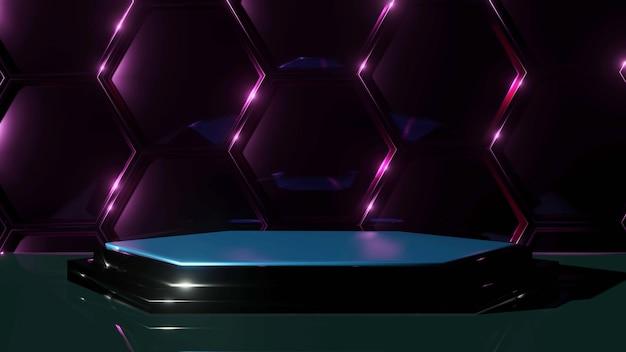 Podium sur une paroi hexagonale pour la présentation du produit. rendu 3d