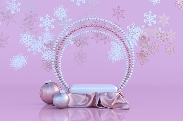 Podium pastel rose 3d avec cadre en perle boules de noël ornement d'hiver flocon de neige couleur or rose