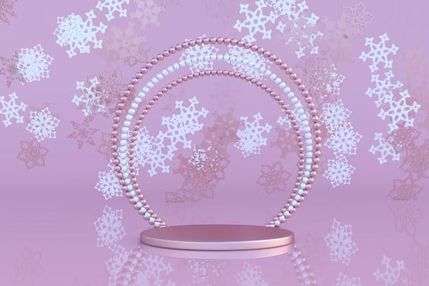 Podium pastel rose 3d avec cadre en perle ornement d'hiver flocon de neige volant noël et nouvel an
