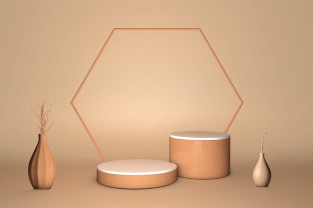 Podium de piédestal 3d sur fond beige pastel d'ombre naturelle. affichage de cosmétiques de beauté pour la promotion du produit ou du texte. vitrine nude studio minimal