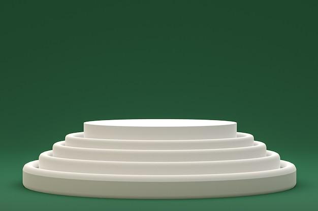 Podium ou piédestal blanc minimal sur fond vert abstrait pour la présentation de produits cosmétiques
