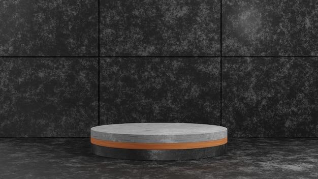 Podium de piédestal en bois et en béton de cylindre de rendu 3d sur fond de texture de ciment sombre pour le modèle de présentation. illustration de concept de maquette de scène d'exposition de géométrie.
