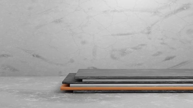 Podium de piédestal en bois et en béton de rendu 3d sur fond de texture de ciment gris pour le modèle de présentation. illustration de concept de maquette de scène d'exposition de géométrie.