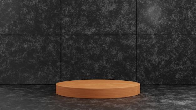 Podium de piédestal en bois de cylindre de rendu 3d sur le fond de mur de texture de ciment foncé pour le modèle de présentation. illustration de concept de maquette d'étape d'exposition de géométrie.