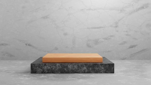 Podium de piédestal carré en bois et béton de rendu 3d sur fond de texture de ciment gris pour le modèle de maquette de présentation. illustration de concept de maquette de scène d'exposition de géométrie.